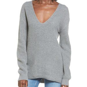 bp | grey ribbed knit plunging vneck sweater | XS